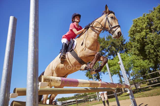 Девушка на лошади пересекает препятствие на пути — стоковое фото