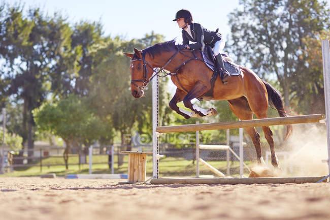 Молодая женщина на лошади пересекает препятствие на пути — стоковое фото