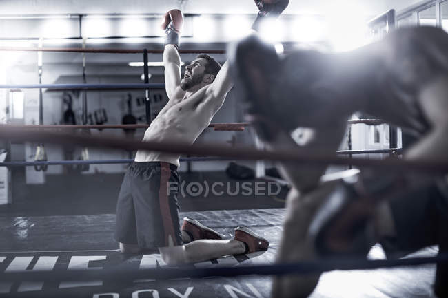 Boxer feiert Sieg über Gegner im Boxring — Stockfoto