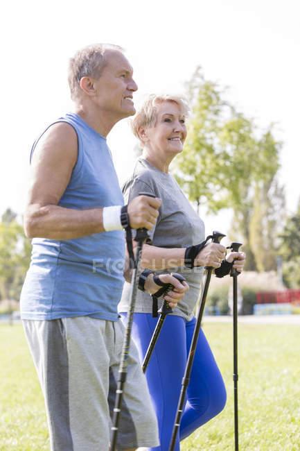 Älteres paar Nordic Walking zusammen in einem Park zu tun — Stockfoto