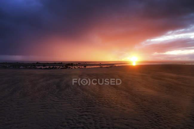 Royaume-Uni, Écosse, East Lothian, coucher de soleil à Gosford Bay — Photo de stock