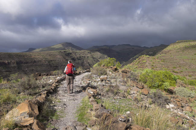 Canary Islands, La Gomera, Alajero, woman walking on hiking trail Sendero Quise — Stock Photo
