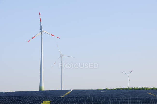 Germany, Bavaria, solar panels and wind turbines — Stock Photo