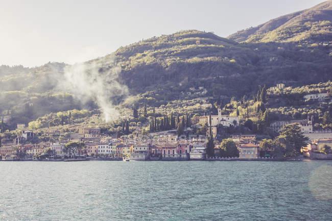 Lake Garda and view to Gargnano — Stock Photo