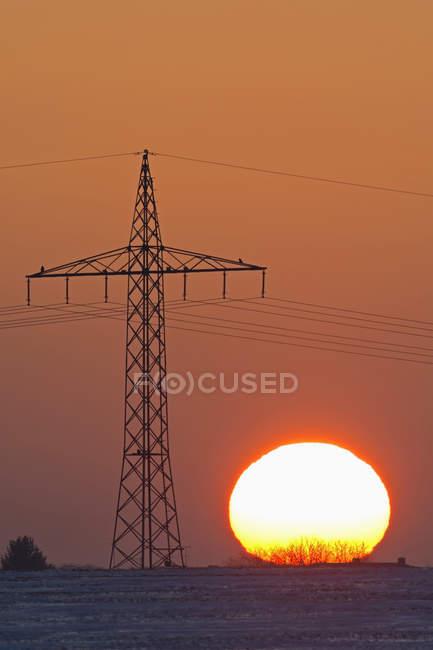 Alemanha, pôr do sol além de pilão de eletricidade — Fotografia de Stock