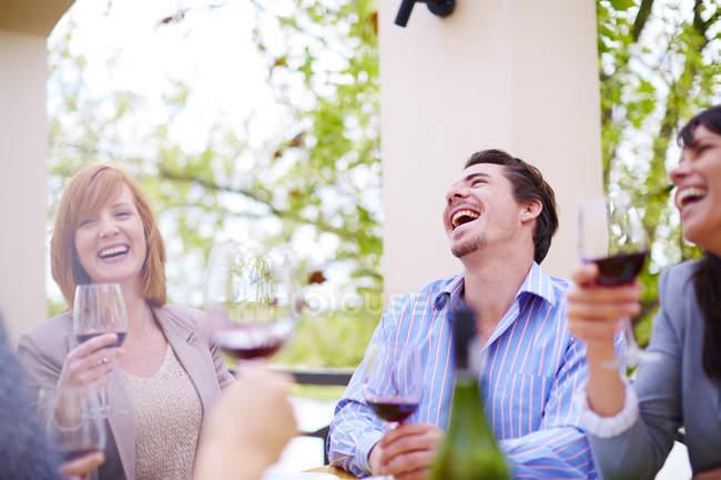 Друзі пити червоне вино лоджія — стокове фото
