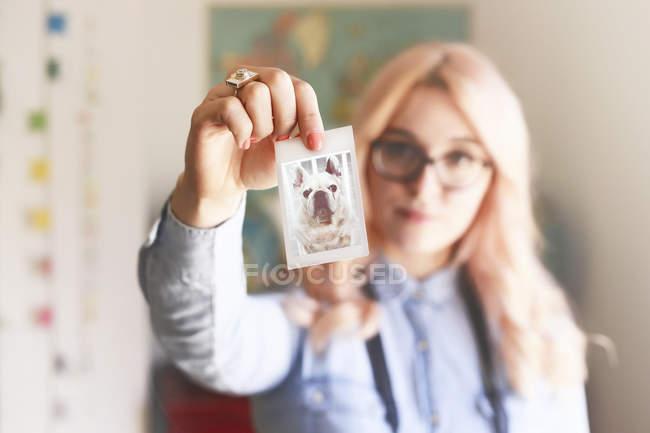 Молода жінка тримає фотографію polaroid французький бульдог — стокове фото