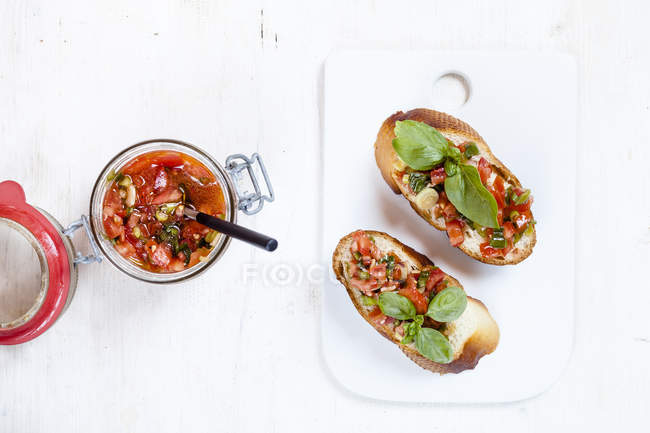 Top view of Fresh bruschetta with ingredients — Stock Photo