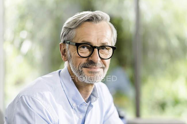 Portrait de l'homme aux cheveux gris et barbe portant des lunettes souriant — Photo de stock