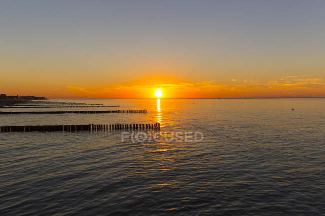 Sunset over water at Baltic sea — Stock Photo