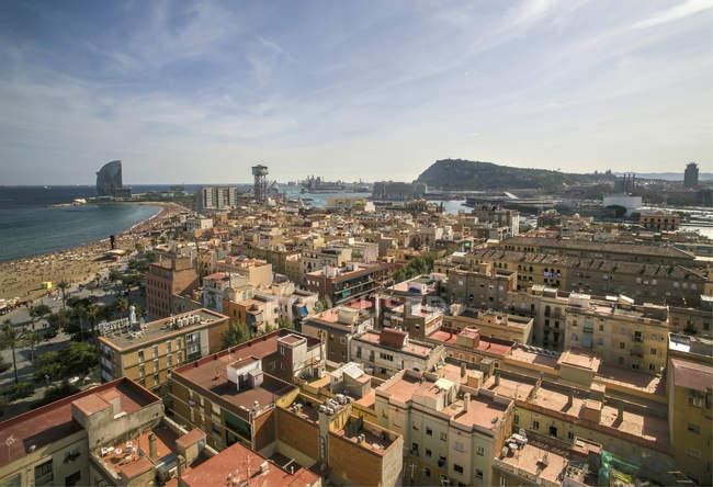Spagna, Barcellona, veduta aerea del quartiere La Barceloneta — Foto stock