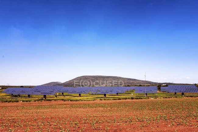 Spain, Andalusia, Solar farm on field — Stock Photo