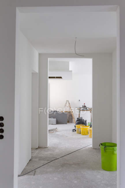 Construction site of residential house with building materials — Stock Photo