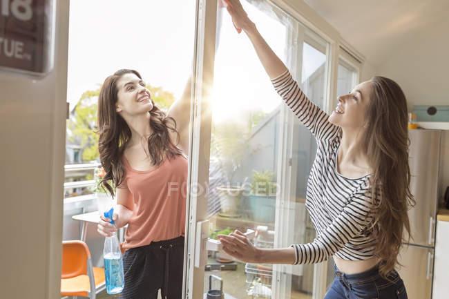 Дві жінки, очищення вікон разом — стокове фото