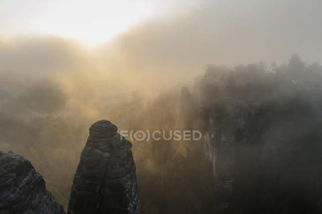 Germany, Saxony, Saxon Switzerland, National Park, Bastei rock formations in the fog — Stock Photo