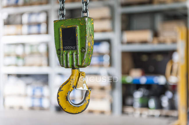 Closeup view of hanging hook of hoist — Stock Photo