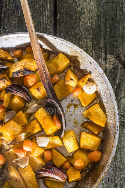 Cooking of pumpkin and vegetables — Stock Photo