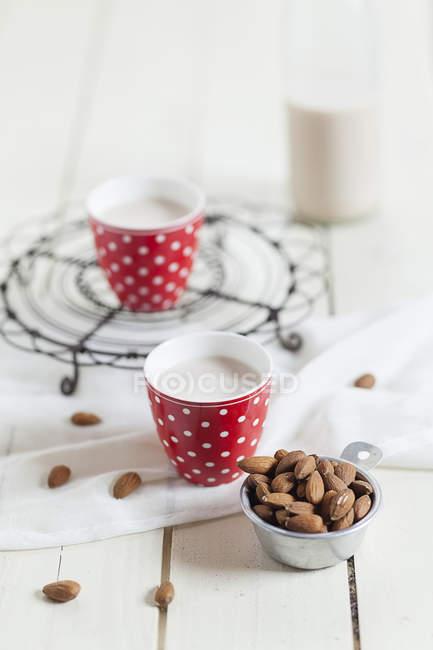 Две чашки домашнего миндального молока и миска миндаля — стоковое фото