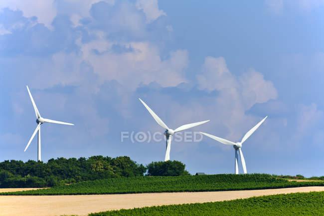 Germany, Rhineland-Palatinate, Wind turbines and fields — Stock Photo