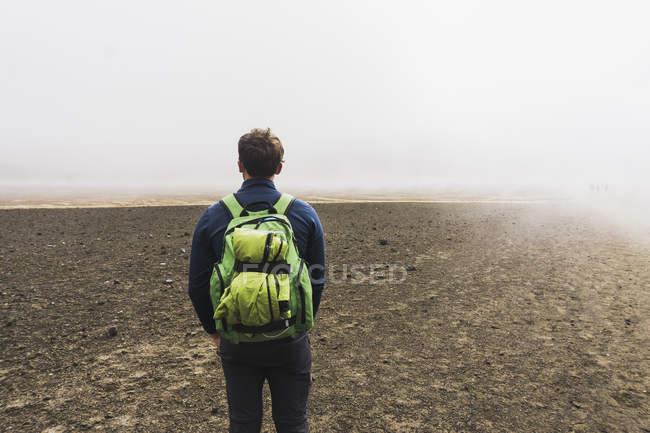 Nueva Zelanda, Parque Nacional Tongariro, vista trasera del hombre con mochila - foto de stock