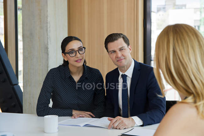 Workers on job interview in modern office — Stock Photo