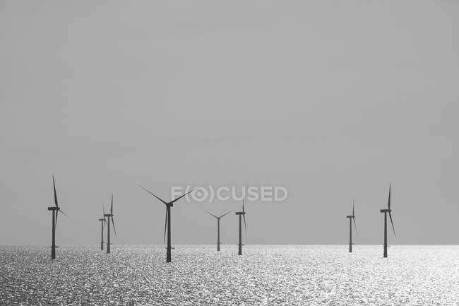 Belgium, West Flanders, Ostende, Zeebruegge, Thorntonbank Wind Farm in the sea in sunshine — Stock Photo