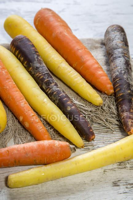Zanahorias orgánicas diferentes - foto de stock
