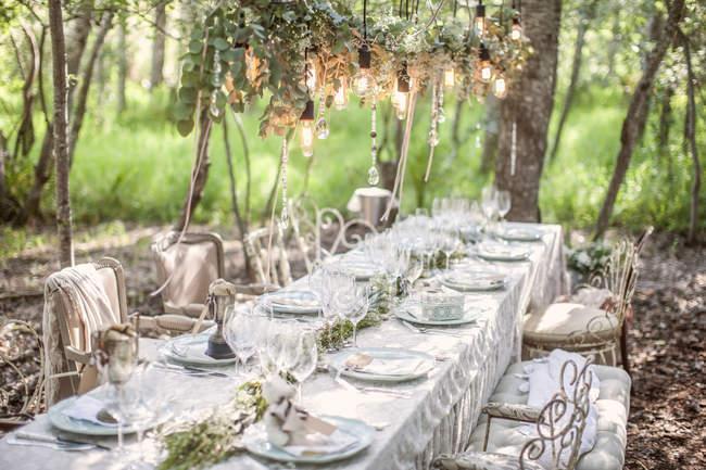 Colocou a mesa para um casamento sob árvores — Fotografia de Stock