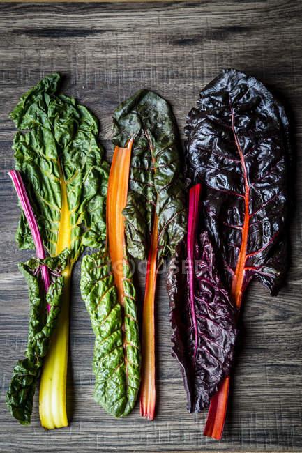 Fila de coloridas hojas de acelga fresca - foto de stock