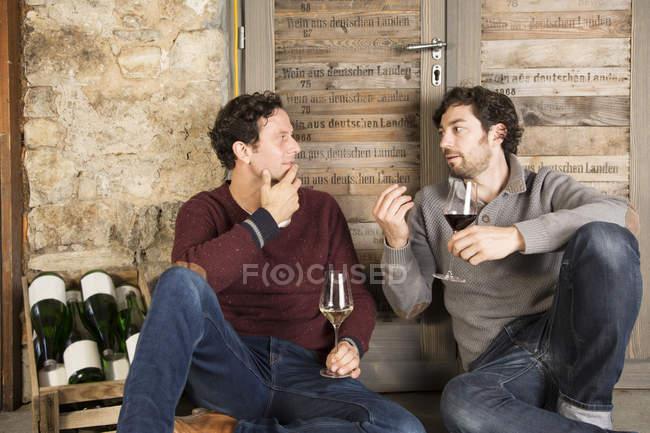 Due uomini che degustano vino in cantina — Foto stock