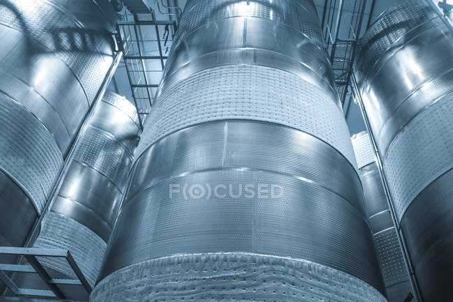 Stainless steel tanks for food industry — Stock Photo