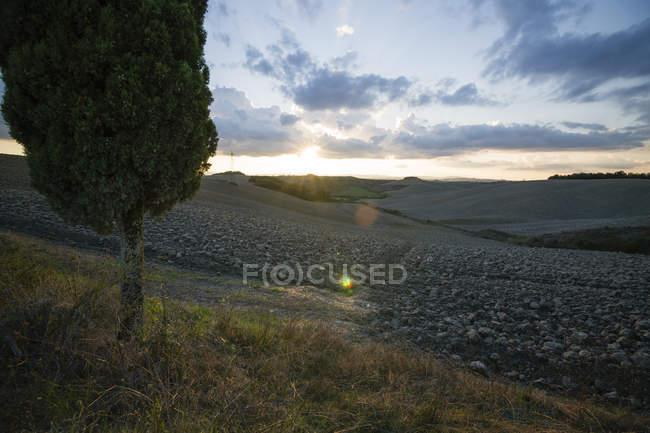 Vista panoramica del paesaggio al tramonto, Crete Senesi, provincia di Siena, Toscana, Italia — Foto stock