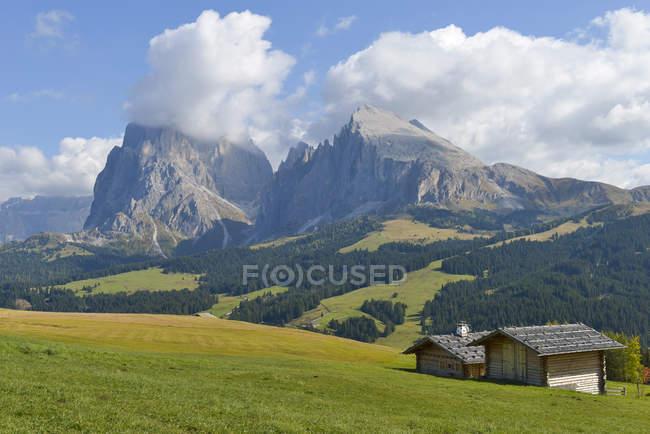 Italie, Tyrol du Sud, Dolomites, Seiser Alm et Langkofel — Photo de stock