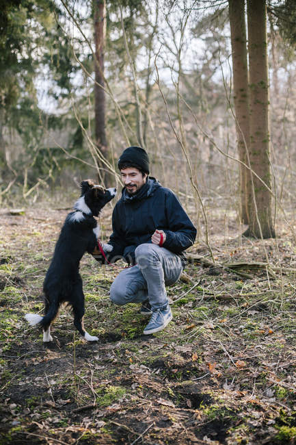 Man playing with Border Collie at forest — Stock Photo