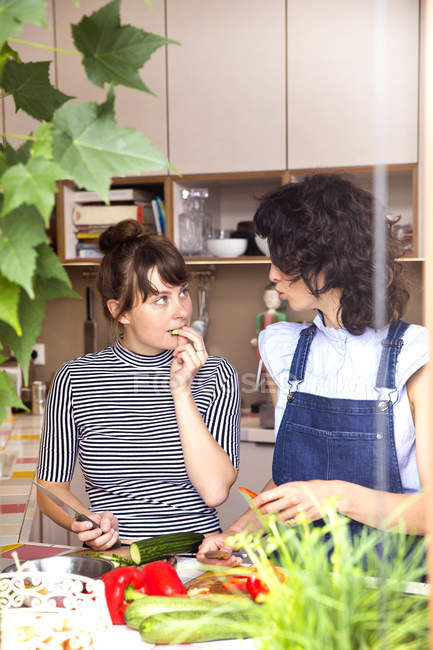 Two women communicating in the kitchen — Stock Photo