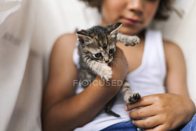 Mains de petit garçon tenant chaton tabby — Photo de stock