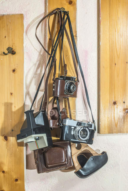 Vintage cameras hanging on wooden plank — Stock Photo