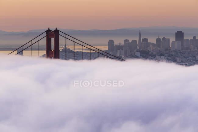 США, Каліфорнія, Сан-Франциско, горизонт та Голден Гейт Брідж в туман — стокове фото