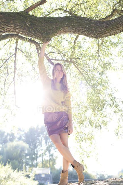 Молодая женщина, одетая вязание пуловер и юбка мини стоял на задний свет — стоковое фото