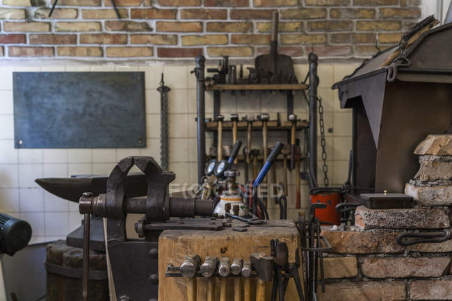 View of tools in workshop of knife maker — Stock Photo