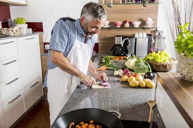Austria, Man in kitchen chopping onions — Stock Photo