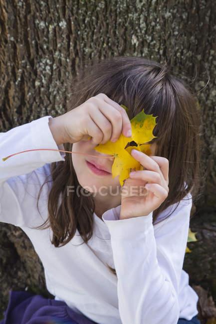 Портрет дівчині заглядав через отвір в Осіннє листя — стокове фото