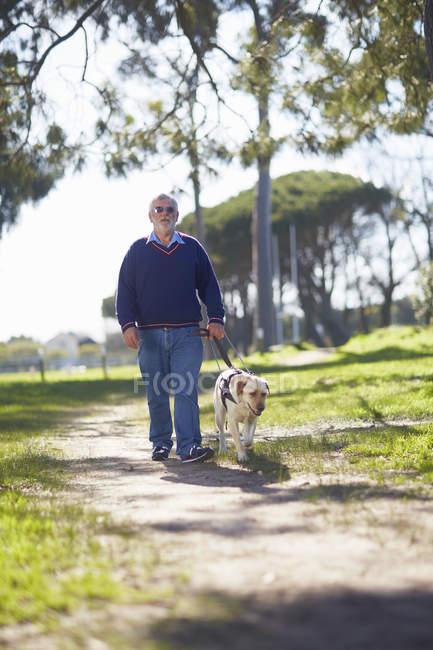 Blinden und sehbehinderten Menschen zu Fuß mit seinem Blindenhund in einem park — Stockfoto