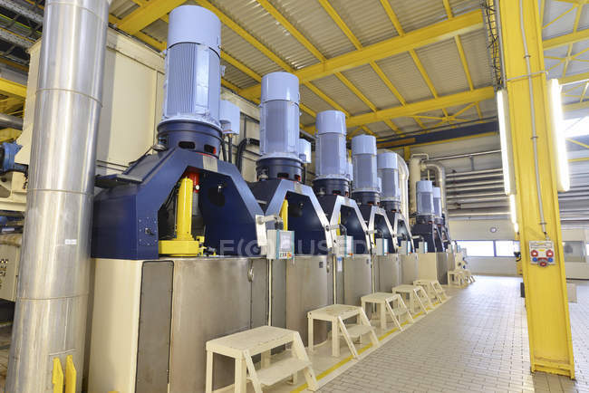 Centrifuges in a sugar mill indoors — Stock Photo