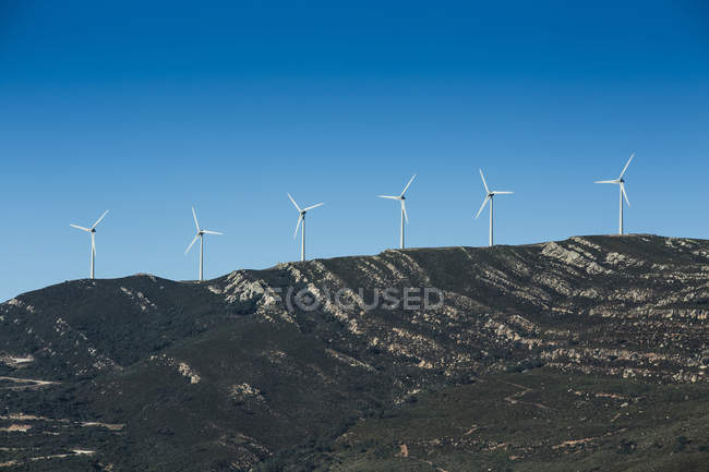 View of wind turbines on mountain, Tarifa, Andalusia, Spain — Stock Photo