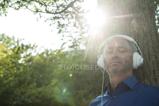 Зрелый человек, прислонившись к стволу дерева, слушает музыку — стоковое фото