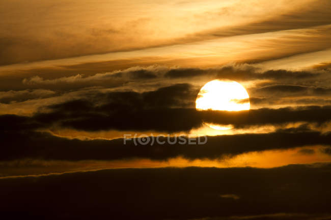 Germany, Western Pomerania Lagoon Area National Park, Sunset and clouds — Stock Photo
