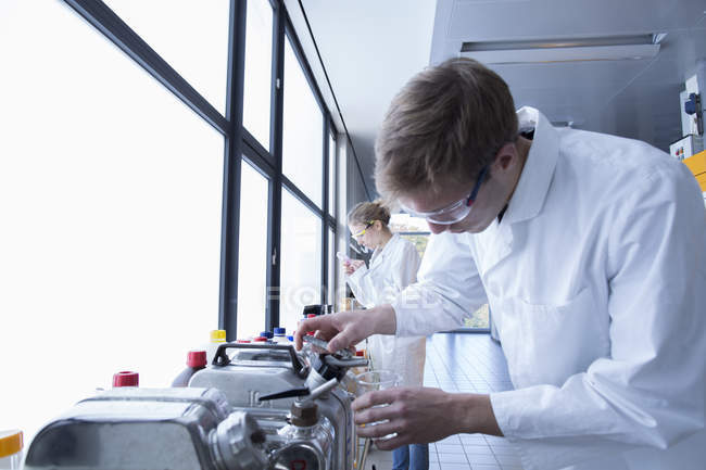 Young chemists working in a chemical laboratory — Stock Photo