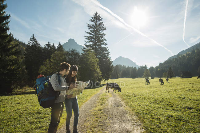 Austria, Tyrol, Tannheimer Tal, two young  hikers with hiking map — Stock Photo