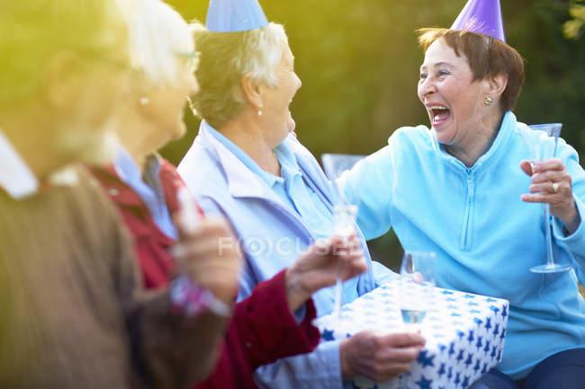 Amigos seniores em uma festa de aniversário no jardim — Fotografia de Stock